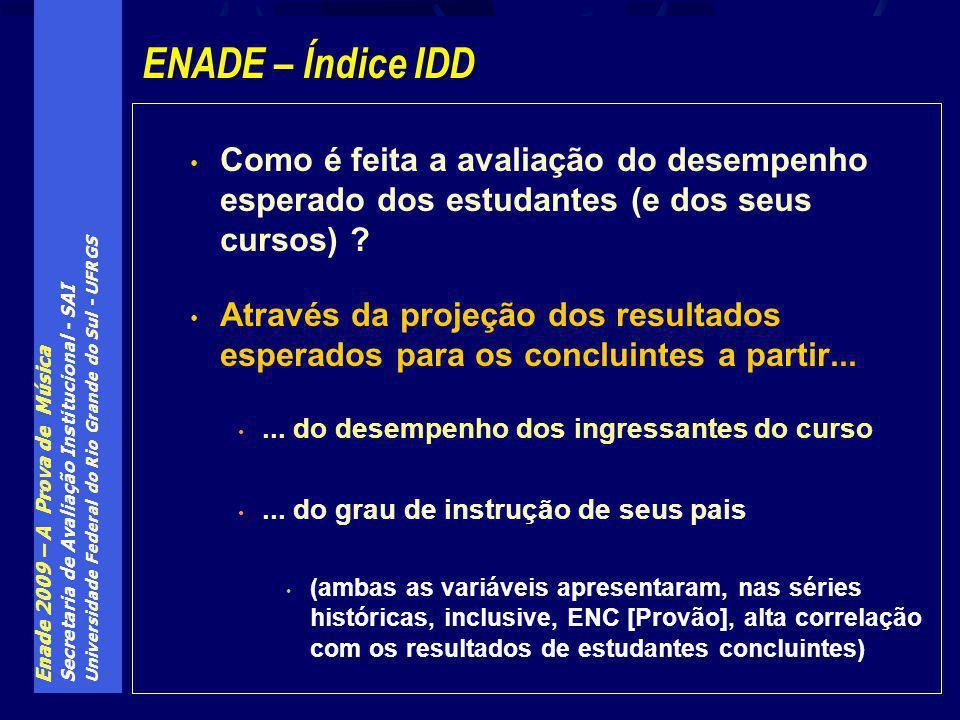 Enade 2009 – A Prova de Música Secretaria de Avaliação Institucional - SAI Universidade Federal do Rio Grande do Sul - UFRGS Como é feita a avaliação do desempenho esperado dos estudantes (e dos seus cursos) .