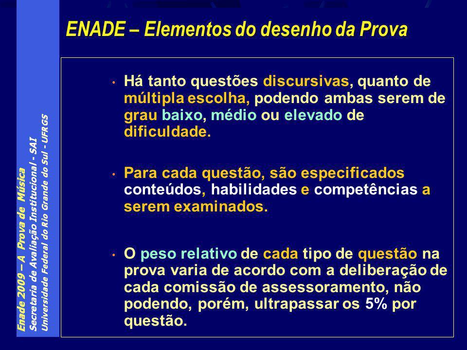 Enade 2009 – A Prova de Música Secretaria de Avaliação Institucional - SAI Universidade Federal do Rio Grande do Sul - UFRGS Há tanto questões discurs