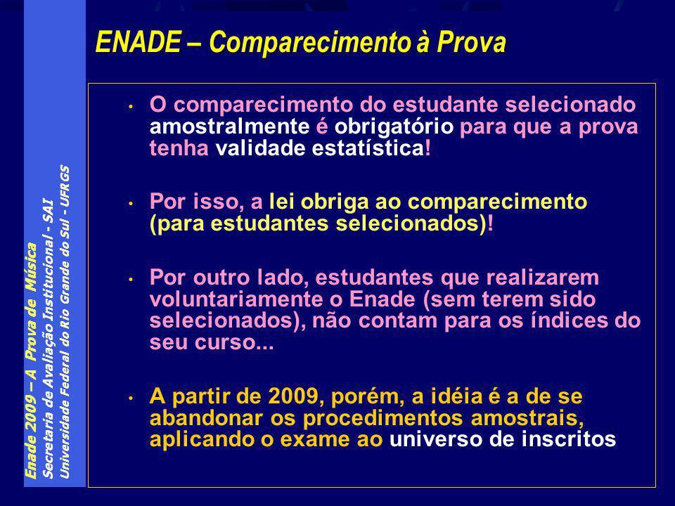 Enade 2009 – A Prova de Música Secretaria de Avaliação Institucional - SAI Universidade Federal do Rio Grande do Sul - UFRGS O comparecimento do estud