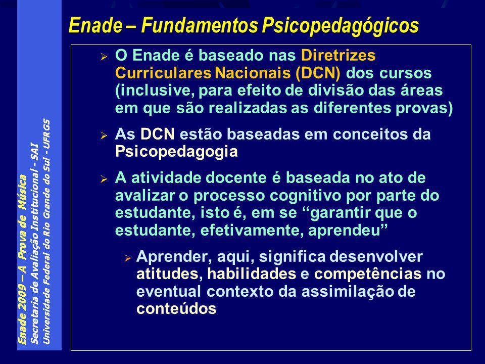 Enade 2009 – A Prova de Música Secretaria de Avaliação Institucional - SAI Universidade Federal do Rio Grande do Sul - UFRGS O Enade é baseado nas Diretrizes Curriculares Nacionais (DCN) dos cursos (inclusive, para efeito de divisão das áreas em que são realizadas as diferentes provas) As DCN estão baseadas em conceitos da Psicopedagogia A atividade docente é baseada no ato de avalizar o processo cognitivo por parte do estudante, isto é, em se garantir que o estudante, efetivamente, aprendeu Aprender, aqui, significa desenvolver atitudes, habilidades e competências no eventual contexto da assimilação de conteúdos Enade – Fundamentos Psicopedagógicos