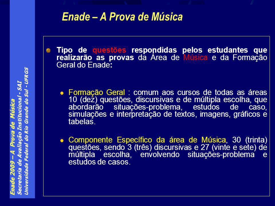 Enade 2009 – A Prova de Música Secretaria de Avaliação Institucional - SAI Universidade Federal do Rio Grande do Sul - UFRGS Tipo de questões respondi