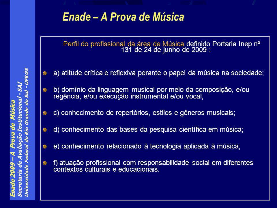 Enade 2009 – A Prova de Música Secretaria de Avaliação Institucional - SAI Universidade Federal do Rio Grande do Sul - UFRGS Perfil do profissional da