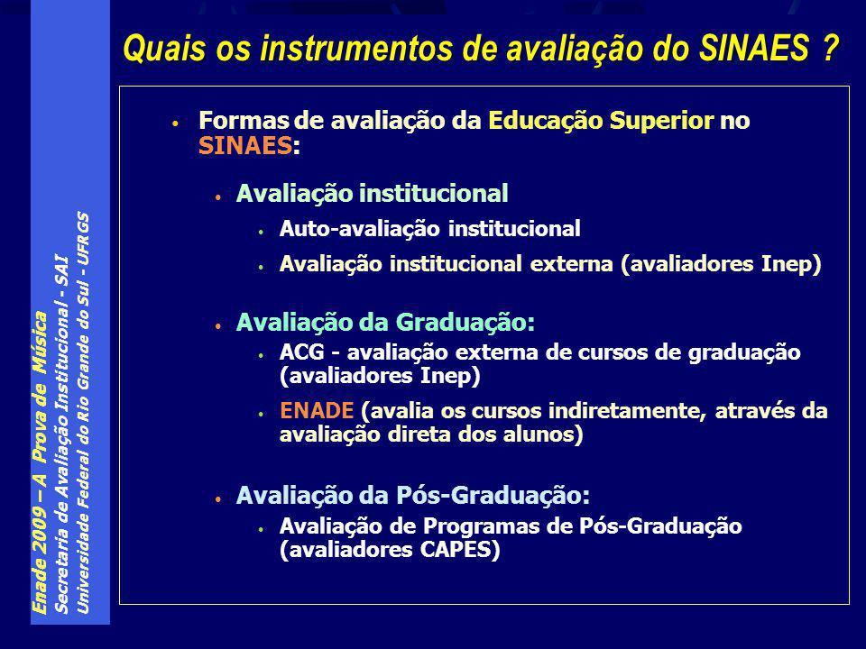 Enade 2009 – A Prova de Música Secretaria de Avaliação Institucional - SAI Universidade Federal do Rio Grande do Sul - UFRGS Formas de avaliação da Educação Superior no SINAES: Avaliação institucional Auto-avaliação institucional Avaliação institucional externa (avaliadores Inep) Avaliação da Graduação: ACG - avaliação externa de cursos de graduação (avaliadores Inep) ENADE (avalia os cursos indiretamente, através da avaliação direta dos alunos) Avaliação da Pós-Graduação: Avaliação de Programas de Pós-Graduação (avaliadores CAPES) Quais os instrumentos de avaliação do SINAES ?