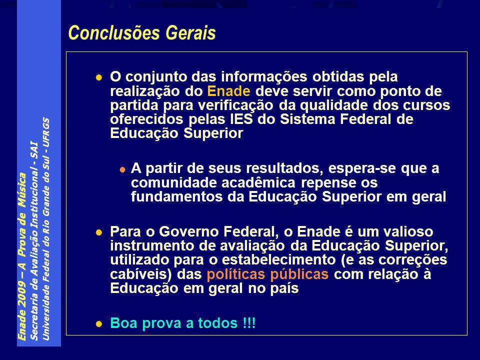 Enade 2009 – A Prova de Música Secretaria de Avaliação Institucional - SAI Universidade Federal do Rio Grande do Sul - UFRGS O conjunto das informaçõe