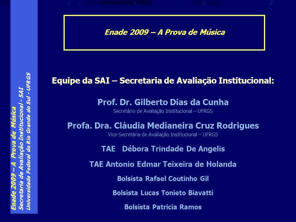 Enade 2009 – A Prova de Música Secretaria de Avaliação Institucional - SAI Universidade Federal do Rio Grande do Sul - UFRGS Enade 2009 – A Prova de Música Equipe da SAI – Secretaria de Avaliação Institucional: Prof.