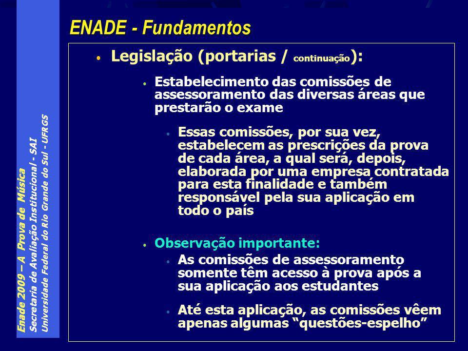 Enade 2009 – A Prova de Música Secretaria de Avaliação Institucional - SAI Universidade Federal do Rio Grande do Sul - UFRGS Legislação (portarias / c