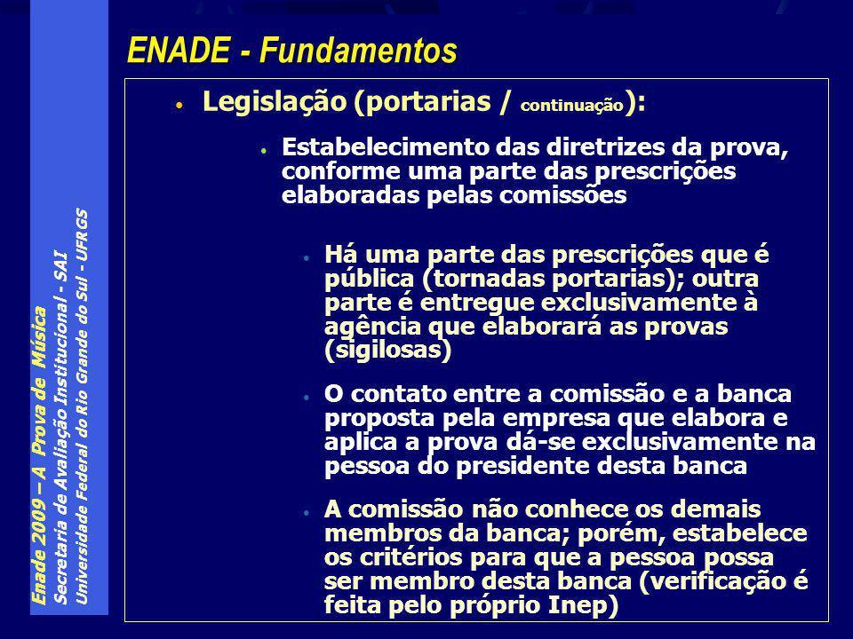 Enade 2009 – A Prova de Música Secretaria de Avaliação Institucional - SAI Universidade Federal do Rio Grande do Sul - UFRGS Legislação (portarias / continuação ): Estabelecimento das diretrizes da prova, conforme uma parte das prescrições elaboradas pelas comissões Há uma parte das prescrições que é pública (tornadas portarias); outra parte é entregue exclusivamente à agência que elaborará as provas (sigilosas) O contato entre a comissão e a banca proposta pela empresa que elabora e aplica a prova dá-se exclusivamente na pessoa do presidente desta banca A comissão não conhece os demais membros da banca; porém, estabelece os critérios para que a pessoa possa ser membro desta banca (verificação é feita pelo próprio Inep) ENADE - Fundamentos