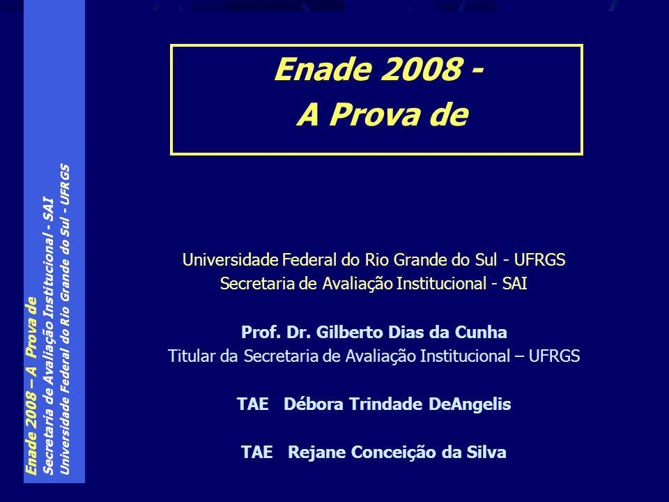 Enade 2008 – A Prova de Secretaria de Avaliação Institucional - SAI Universidade Federal do Rio Grande do Sul - UFRGS Secretaria de Avaliação Institucional - SAI Prof.