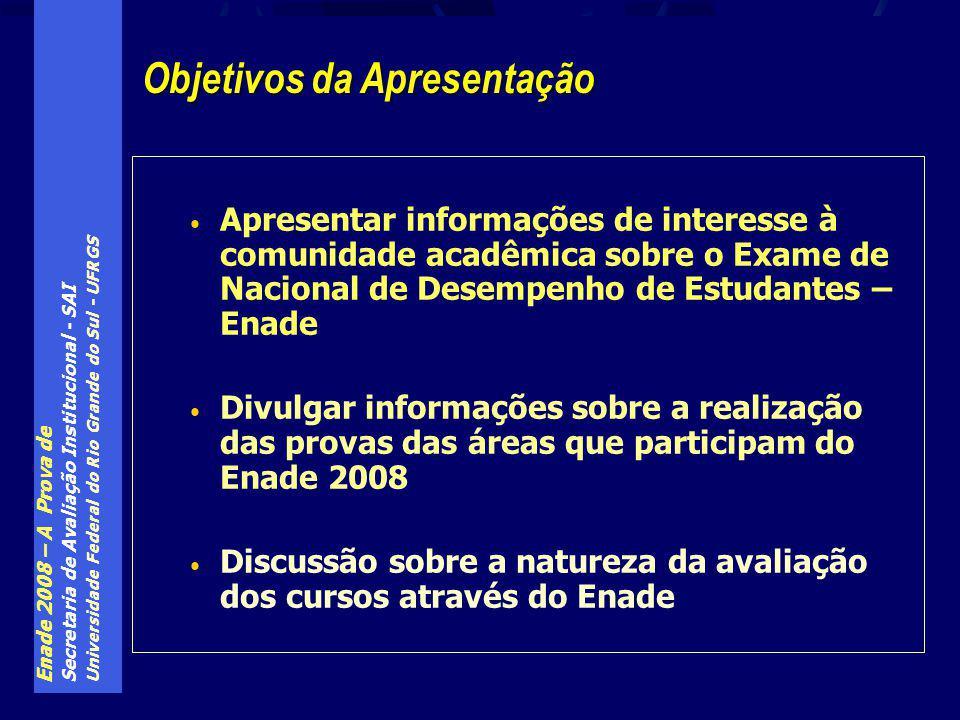 Enade 2008 – A Prova de Secretaria de Avaliação Institucional - SAI Universidade Federal do Rio Grande do Sul - UFRGS A nota final para obtenção do conceito do curso é dada pela expressão: NF = 0,25*NP T10 + 0,60*NP F30 + 0,15*NP I30 Onde: NP T10 – é a nota padronizada dos alunos iniciantes e concluintes do curso nas 10 questões sobre conhecimentos gerais NP F30 – é a nota padronizada dos alunos concluintes do curso nas 30 questões de conhecimentos de área do curso NP I30 – é a nota padronizada dos alunos iniciantes do curso nas 30 questões de conhecimentos de área do curso ENADE – a nota do curso