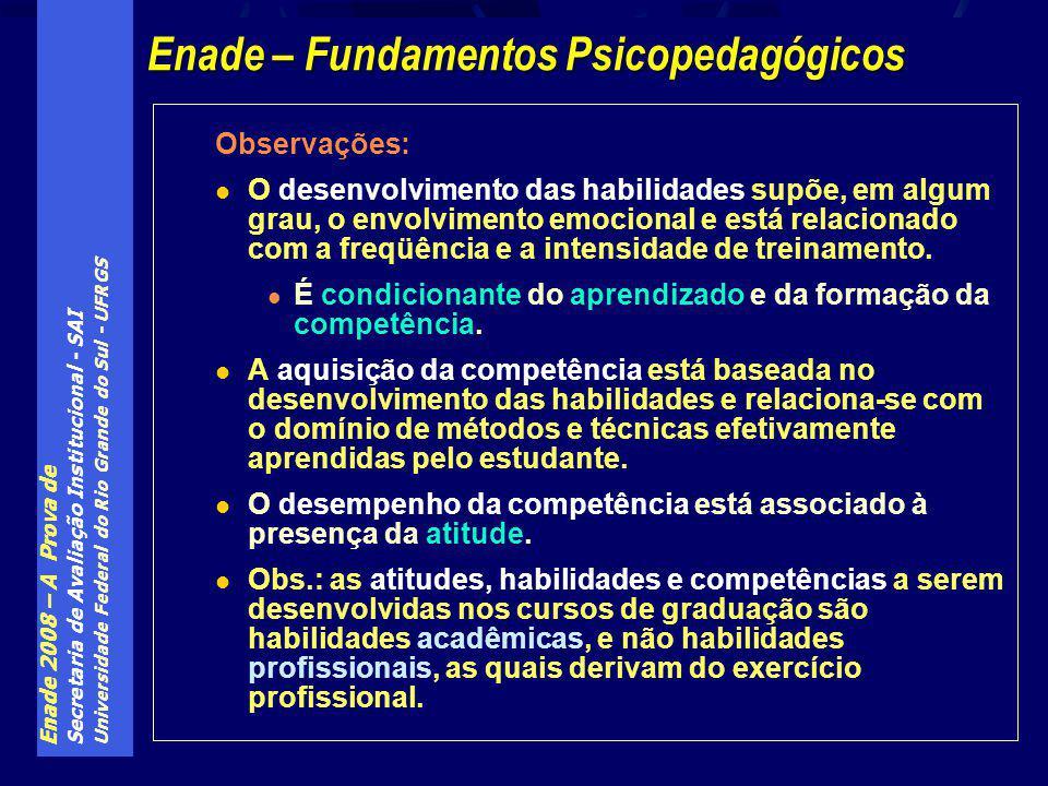 Enade 2008 – A Prova de Secretaria de Avaliação Institucional - SAI Universidade Federal do Rio Grande do Sul - UFRGS Observações: O desenvolvimento das habilidades supõe, em algum grau, o envolvimento emocional e está relacionado com a freqüência e a intensidade de treinamento.