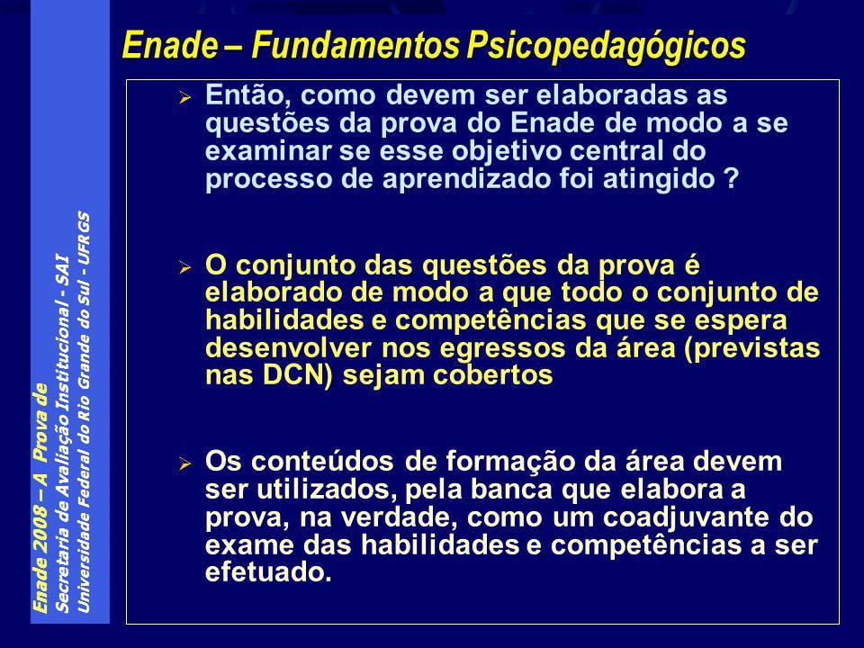 Enade 2008 – A Prova de Secretaria de Avaliação Institucional - SAI Universidade Federal do Rio Grande do Sul - UFRGS Então, como devem ser elaboradas as questões da prova do Enade de modo a se examinar se esse objetivo central do processo de aprendizado foi atingido .