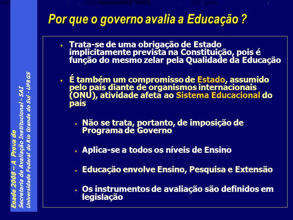 Enade 2008 – A Prova de Secretaria de Avaliação Institucional - SAI Universidade Federal do Rio Grande do Sul - UFRGS Trata-se de uma obrigação de Estado implicitamente prevista na Constituição, pois é função do mesmo zelar pela Qualidade da Educação É também um compromisso de Estado, assumido pelo país diante de organismos internacionais (ONU), atividade afeta ao Sistema Educacional do país Não se trata, portanto, de imposição de Programa de Governo Aplica-se a todos os níveis de Ensino Educação envolve Ensino, Pesquisa e Extensão Os instrumentos de avaliação são definidos em legislação Por que o governo avalia a Educação ?