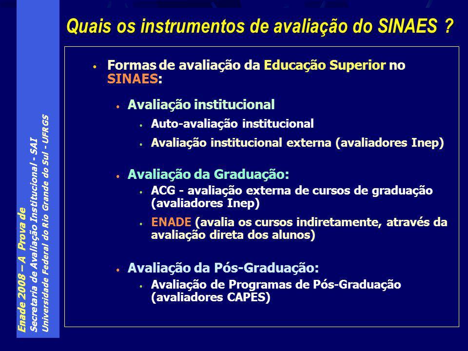 Enade 2008 – A Prova de Secretaria de Avaliação Institucional - SAI Universidade Federal do Rio Grande do Sul - UFRGS Formas de avaliação da Educação Superior no SINAES: Avaliação institucional Auto-avaliação institucional Avaliação institucional externa (avaliadores Inep) Avaliação da Graduação: ACG - avaliação externa de cursos de graduação (avaliadores Inep) ENADE (avalia os cursos indiretamente, através da avaliação direta dos alunos) Avaliação da Pós-Graduação: Avaliação de Programas de Pós-Graduação (avaliadores CAPES) Quais os instrumentos de avaliação do SINAES