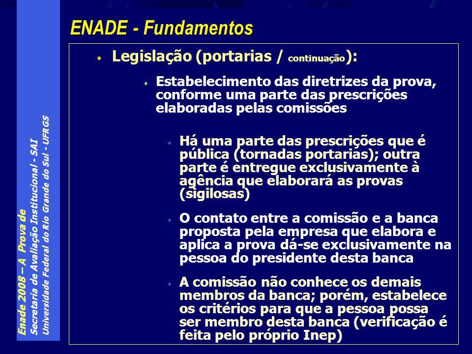 Enade 2008 – A Prova de Secretaria de Avaliação Institucional - SAI Universidade Federal do Rio Grande do Sul - UFRGS Legislação (portarias / continuação ): Estabelecimento das diretrizes da prova, conforme uma parte das prescrições elaboradas pelas comissões Há uma parte das prescrições que é pública (tornadas portarias); outra parte é entregue exclusivamente à agência que elaborará as provas (sigilosas) O contato entre a comissão e a banca proposta pela empresa que elabora e aplica a prova dá-se exclusivamente na pessoa do presidente desta banca A comissão não conhece os demais membros da banca; porém, estabelece os critérios para que a pessoa possa ser membro desta banca (verificação é feita pelo próprio Inep) ENADE - Fundamentos