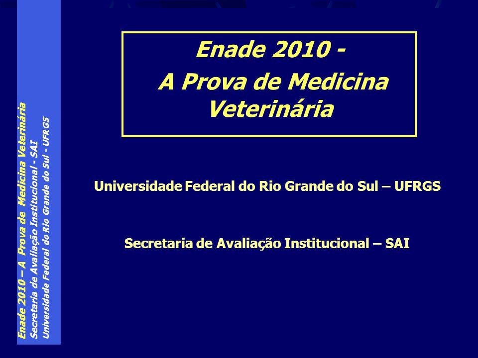 Enade 2010 – A Prova de Medicina Veterinária Secretaria de Avaliação Institucional - SAI Universidade Federal do Rio Grande do Sul - UFRGS O conceito foi dado pela classificação assim estabelecida (prevista na lei do SINAES): ENADE – Resultados: o conceito do curso ConceitoNota Final 10 a 0,9 21 a 1,9 32 a 2,9 43 a 3,9 54 a 5