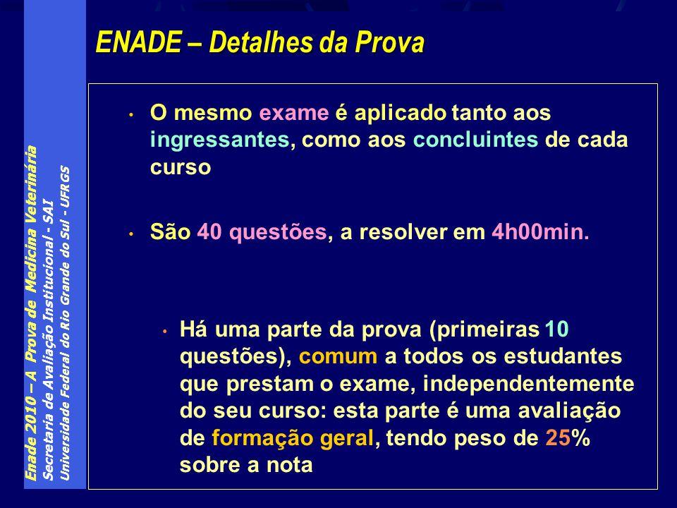 Enade 2010 – A Prova de Medicina Veterinária Secretaria de Avaliação Institucional - SAI Universidade Federal do Rio Grande do Sul - UFRGS O mesmo exa