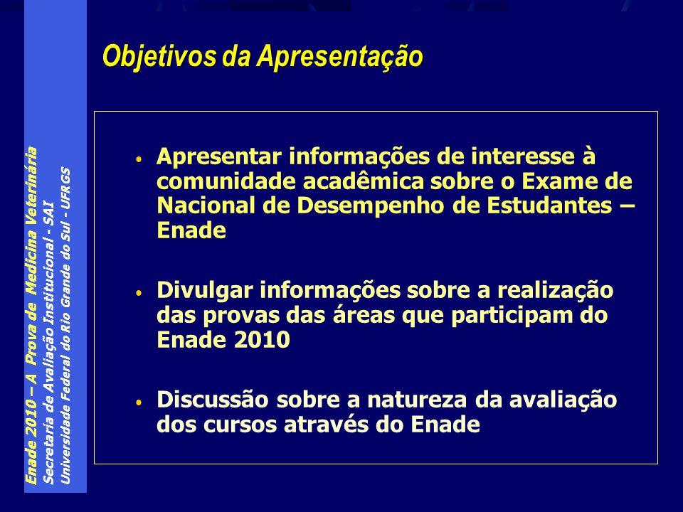 Enade 2010 – A Prova de Medicina Veterinária Secretaria de Avaliação Institucional - SAI Universidade Federal do Rio Grande do Sul - UFRGS Apresentar