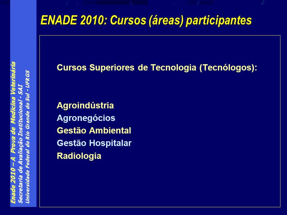 Enade 2010 – A Prova de Medicina Veterinária Secretaria de Avaliação Institucional - SAI Universidade Federal do Rio Grande do Sul - UFRGS Cursos Superiores de Tecnologia (Tecnólogos): Agroindústria Agronegócios Gestão Ambiental Gestão Hospitalar Radiologia ENADE 2010: Cursos (áreas) participantes