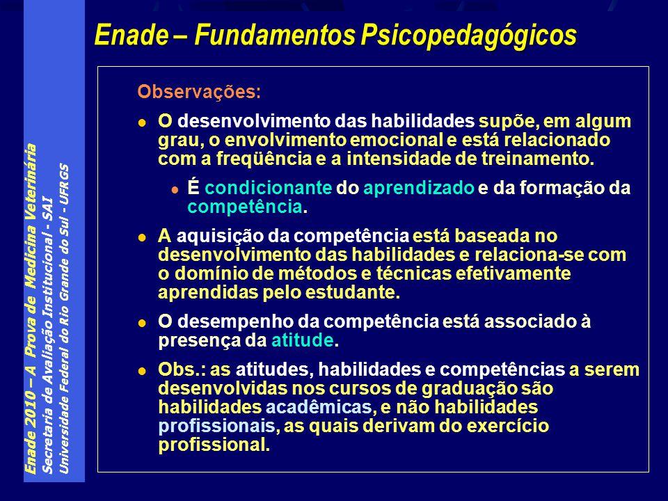Enade 2010 – A Prova de Medicina Veterinária Secretaria de Avaliação Institucional - SAI Universidade Federal do Rio Grande do Sul - UFRGS Observações: O desenvolvimento das habilidades supõe, em algum grau, o envolvimento emocional e está relacionado com a freqüência e a intensidade de treinamento.