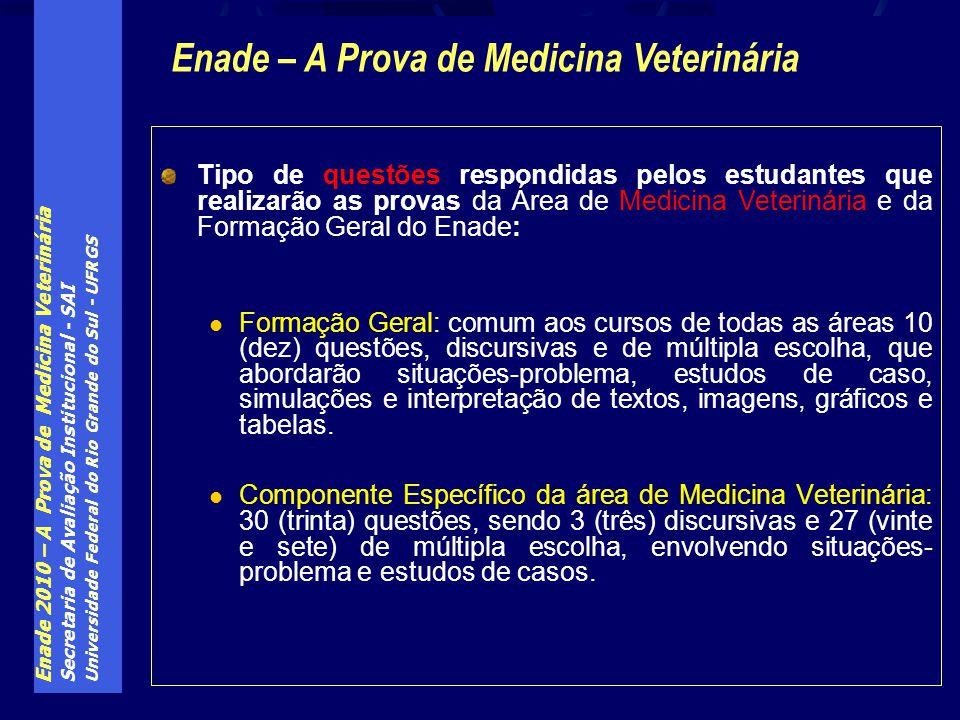 Enade 2010 – A Prova de Medicina Veterinária Secretaria de Avaliação Institucional - SAI Universidade Federal do Rio Grande do Sul - UFRGS Tipo de que