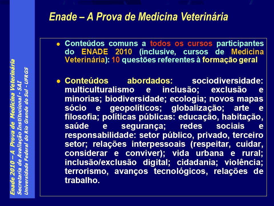 Enade 2010 – A Prova de Medicina Veterinária Secretaria de Avaliação Institucional - SAI Universidade Federal do Rio Grande do Sul - UFRGS Conteúdos c