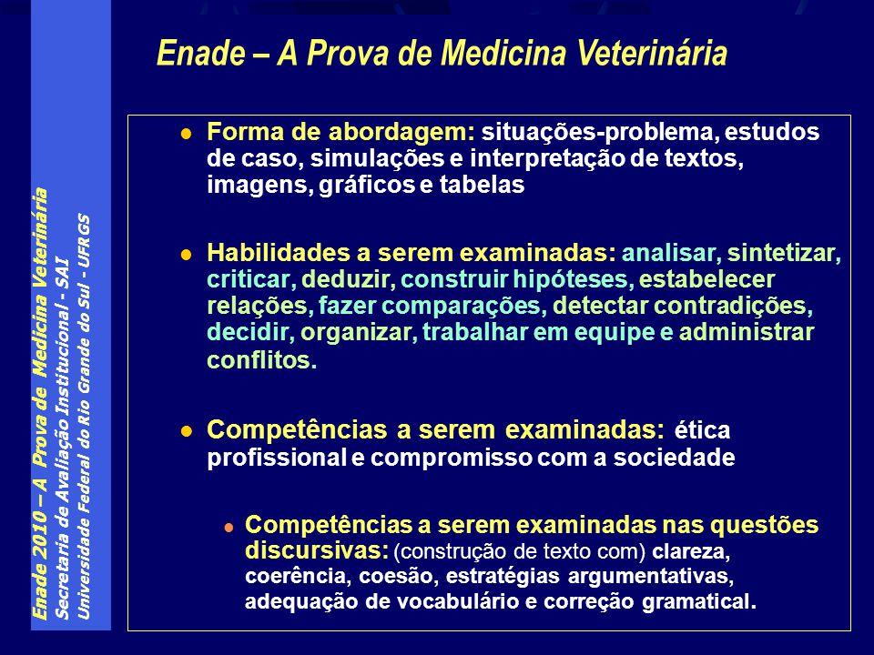 Enade 2010 – A Prova de Medicina Veterinária Secretaria de Avaliação Institucional - SAI Universidade Federal do Rio Grande do Sul - UFRGS Forma de ab