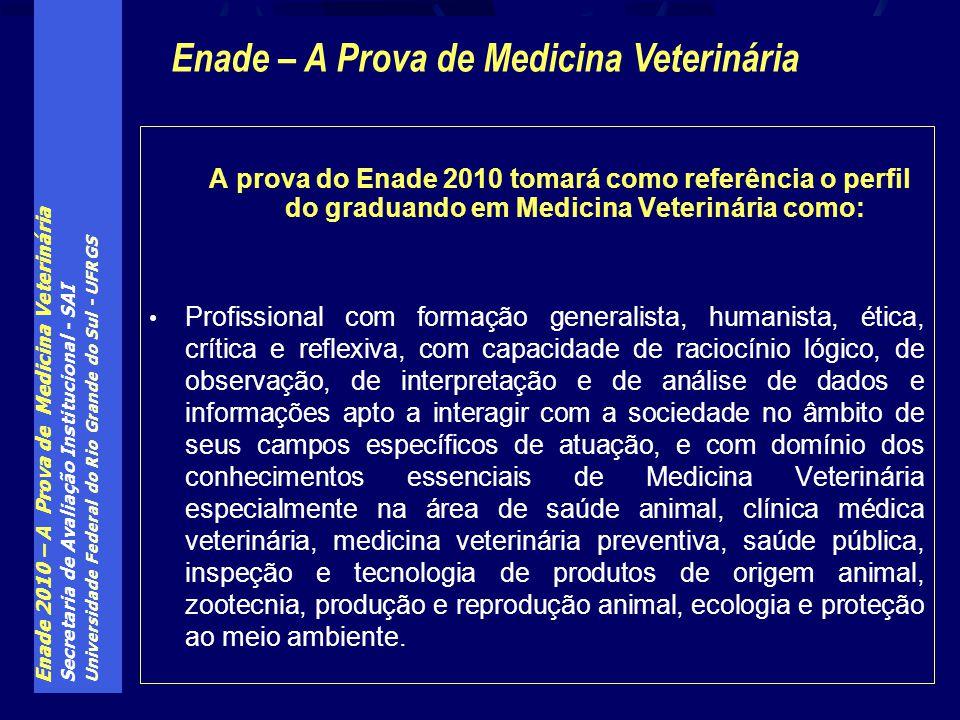 Enade 2010 – A Prova de Medicina Veterinária Secretaria de Avaliação Institucional - SAI Universidade Federal do Rio Grande do Sul - UFRGS A prova do