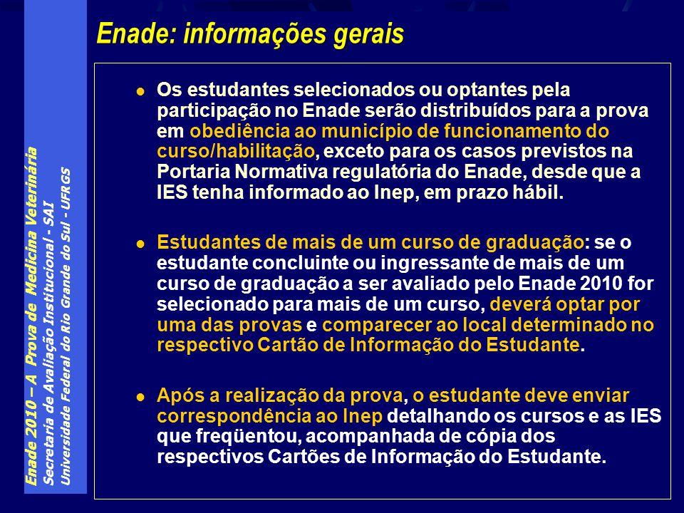 Enade 2010 – A Prova de Medicina Veterinária Secretaria de Avaliação Institucional - SAI Universidade Federal do Rio Grande do Sul - UFRGS Os estudant