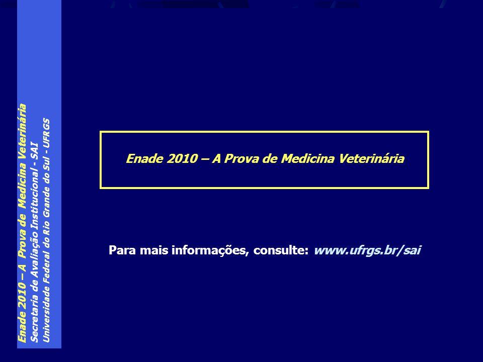Enade 2010 – A Prova de Medicina Veterinária Secretaria de Avaliação Institucional - SAI Universidade Federal do Rio Grande do Sul - UFRGS Enade 2010 – A Prova de Medicina Veterinária Para mais informações, consulte: www.ufrgs.br/sai