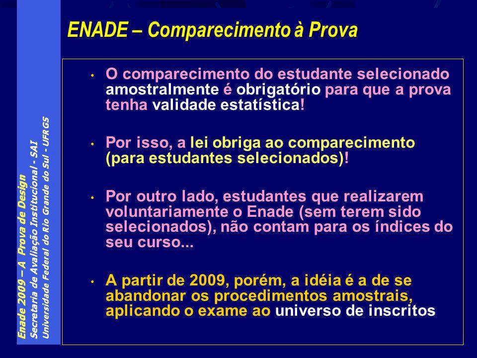 Enade 2009 – A Prova de Design Secretaria de Avaliação Institucional - SAI Universidade Federal do Rio Grande do Sul - UFRGS O comparecimento do estud