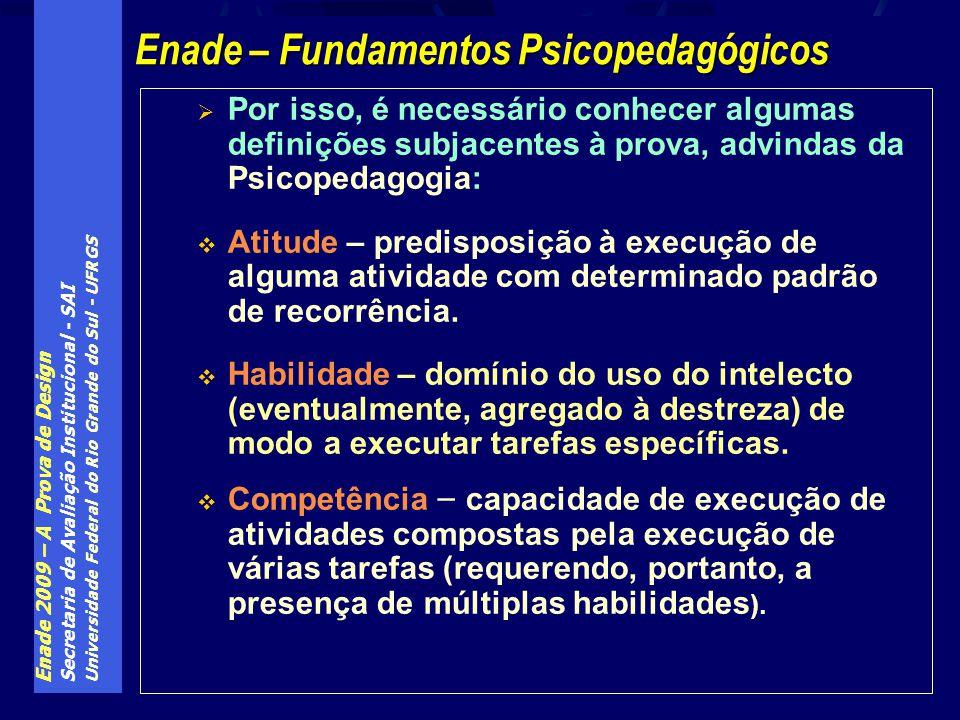 Enade 2009 – A Prova de Design Secretaria de Avaliação Institucional - SAI Universidade Federal do Rio Grande do Sul - UFRGS Por isso, é necessário co