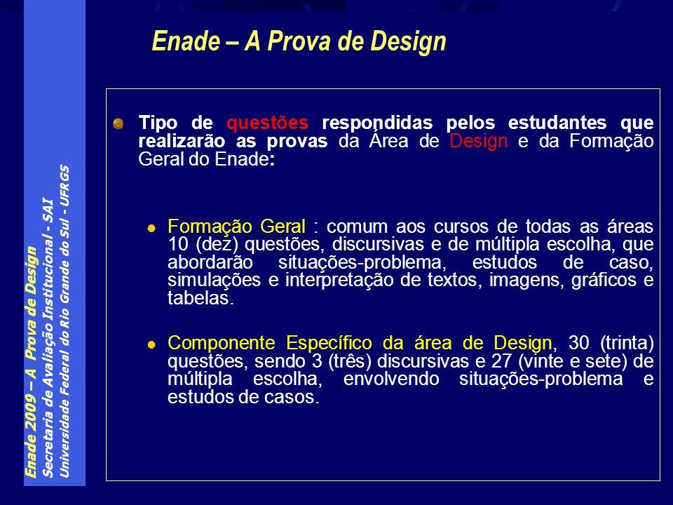 Enade 2009 – A Prova de Design Secretaria de Avaliação Institucional - SAI Universidade Federal do Rio Grande do Sul - UFRGS Tipo de questões respondi