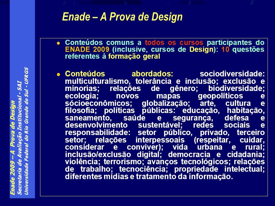 Enade 2009 – A Prova de Design Secretaria de Avaliação Institucional - SAI Universidade Federal do Rio Grande do Sul - UFRGS Conteúdos comuns a todos