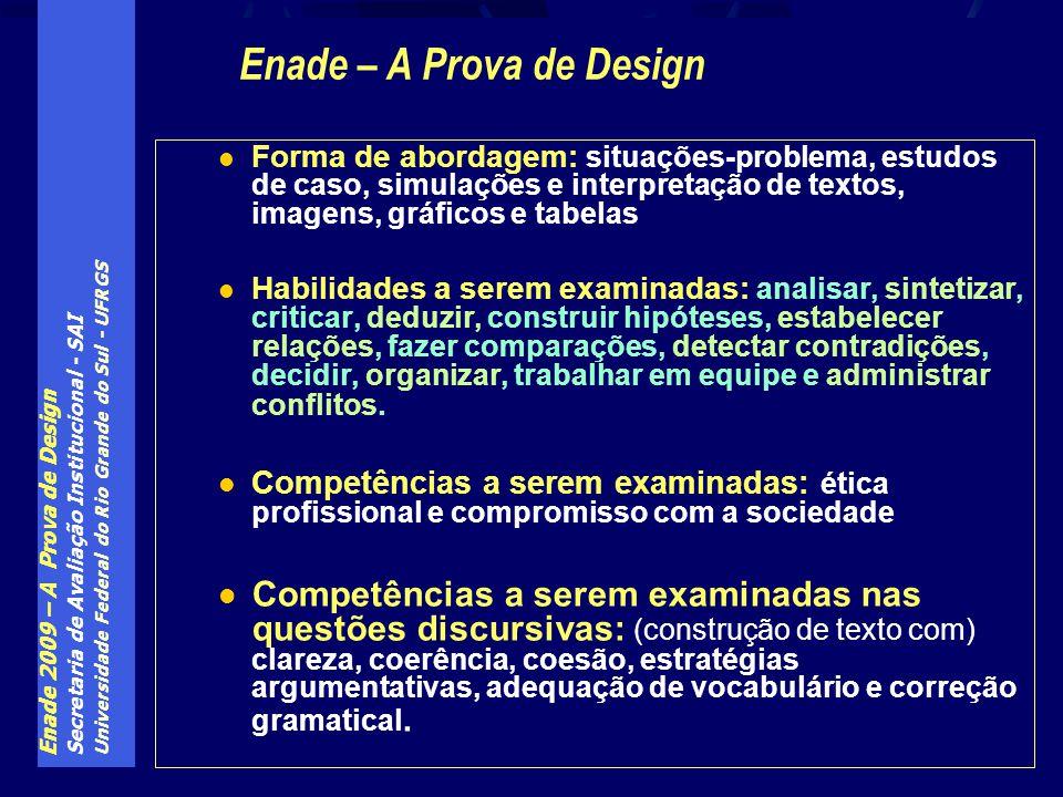 Enade 2009 – A Prova de Design Secretaria de Avaliação Institucional - SAI Universidade Federal do Rio Grande do Sul - UFRGS Forma de abordagem: situa