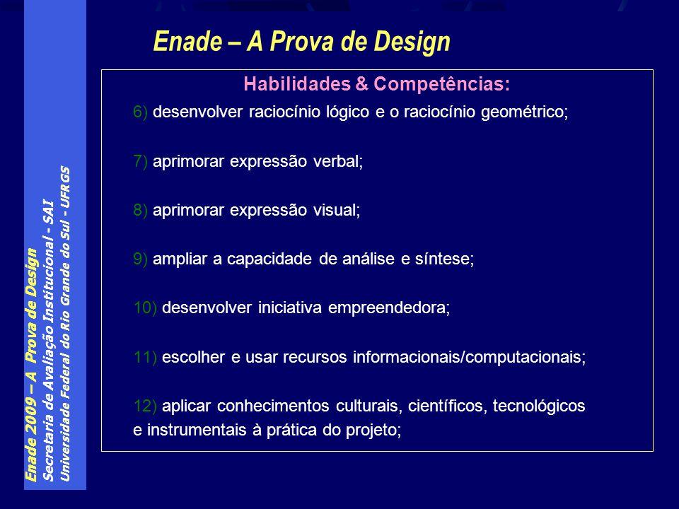 Enade 2009 – A Prova de Design Secretaria de Avaliação Institucional - SAI Universidade Federal do Rio Grande do Sul - UFRGS Habilidades & Competência