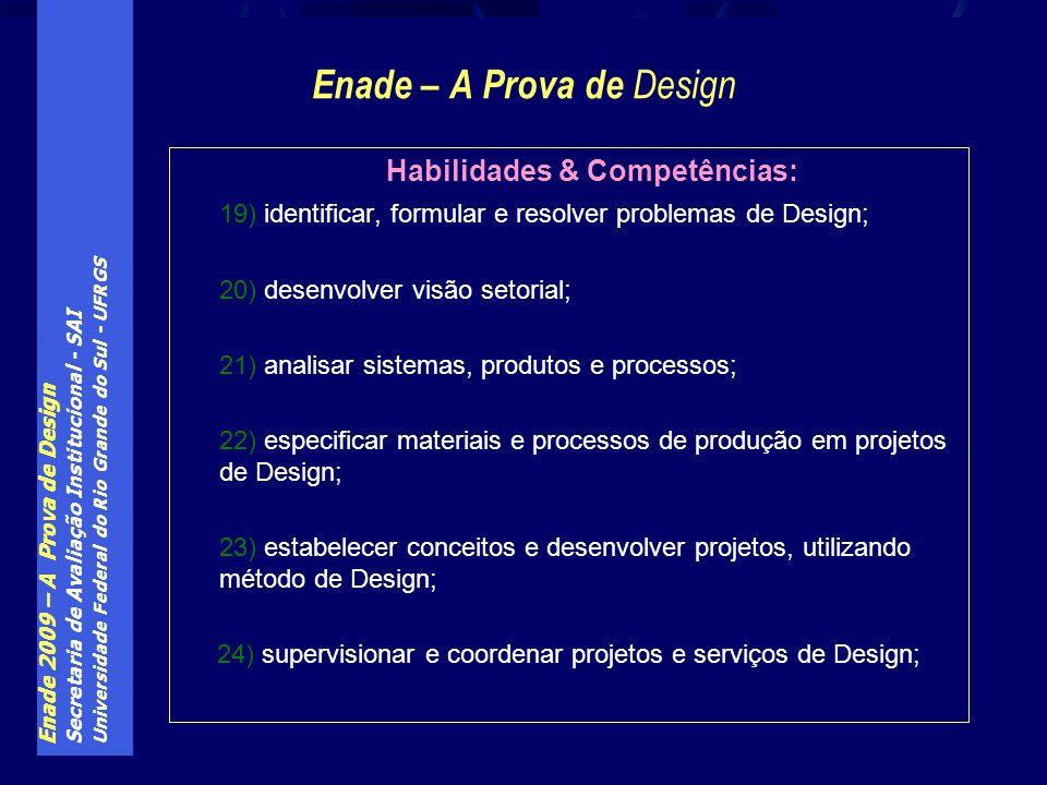 Enade 2009 – A Prova de Design Secretaria de Avaliação Institucional - SAI Universidade Federal do Rio Grande do Sul - UFRGS Enade – A Prova de Design
