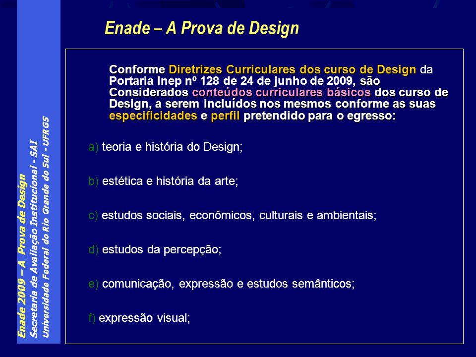 Enade 2009 – A Prova de Design Secretaria de Avaliação Institucional - SAI Universidade Federal do Rio Grande do Sul - UFRGS Conforme Diretrizes Curri