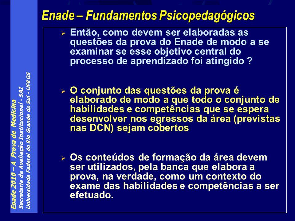 Enade 2010 – A Prova de Medicina Secretaria de Avaliação Institucional - SAI Universidade Federal do Rio Grande do Sul - UFRGS Então, como devem ser elaboradas as questões da prova do Enade de modo a se examinar se esse objetivo central do processo de aprendizado foi atingido .