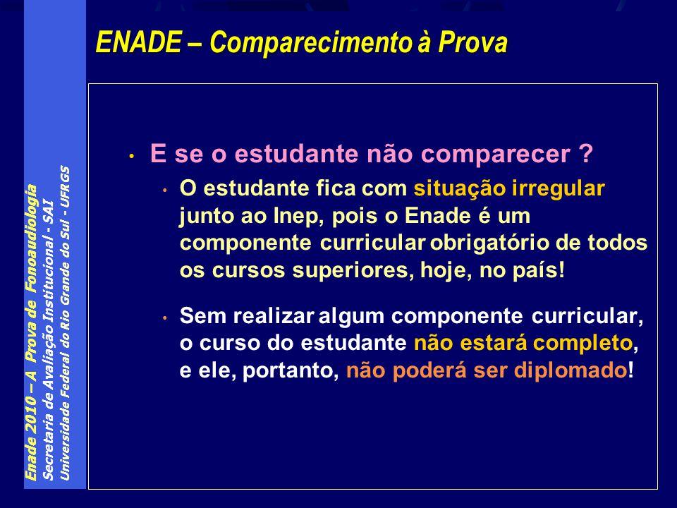 Enade 2010 – A Prova de Fonoaudiologia Secretaria de Avaliação Institucional - SAI Universidade Federal do Rio Grande do Sul - UFRGS E se o estudante não comparecer .