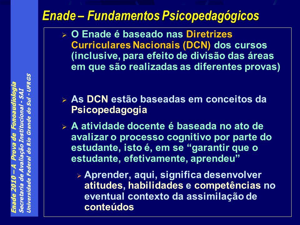 Enade 2010 – A Prova de Fonoaudiologia Secretaria de Avaliação Institucional - SAI Universidade Federal do Rio Grande do Sul - UFRGS O Enade é baseado nas Diretrizes Curriculares Nacionais (DCN) dos cursos (inclusive, para efeito de divisão das áreas em que são realizadas as diferentes provas) As DCN estão baseadas em conceitos da Psicopedagogia A atividade docente é baseada no ato de avalizar o processo cognitivo por parte do estudante, isto é, em se garantir que o estudante, efetivamente, aprendeu Aprender, aqui, significa desenvolver atitudes, habilidades e competências no eventual contexto da assimilação de conteúdos Enade – Fundamentos Psicopedagógicos