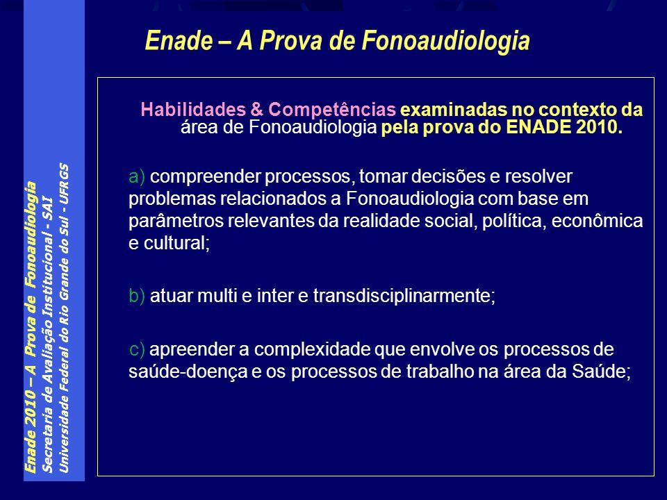 Enade 2010 – A Prova de Fonoaudiologia Secretaria de Avaliação Institucional - SAI Universidade Federal do Rio Grande do Sul - UFRGS Habilidades & Competências examinadas no contexto da área de Fonoaudiologia pela prova do ENADE 2010.