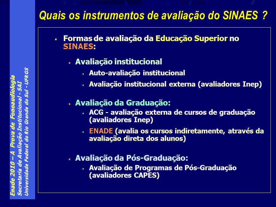 Enade 2010 – A Prova de Fonoaudiologia Secretaria de Avaliação Institucional - SAI Universidade Federal do Rio Grande do Sul - UFRGS Formas de avaliação da Educação Superior no SINAES: Avaliação institucional Auto-avaliação institucional Avaliação institucional externa (avaliadores Inep) Avaliação da Graduação: ACG - avaliação externa de cursos de graduação (avaliadores Inep) ENADE (avalia os cursos indiretamente, através da avaliação direta dos alunos) Avaliação da Pós-Graduação: Avaliação de Programas de Pós-Graduação (avaliadores CAPES) Quais os instrumentos de avaliação do SINAES ?