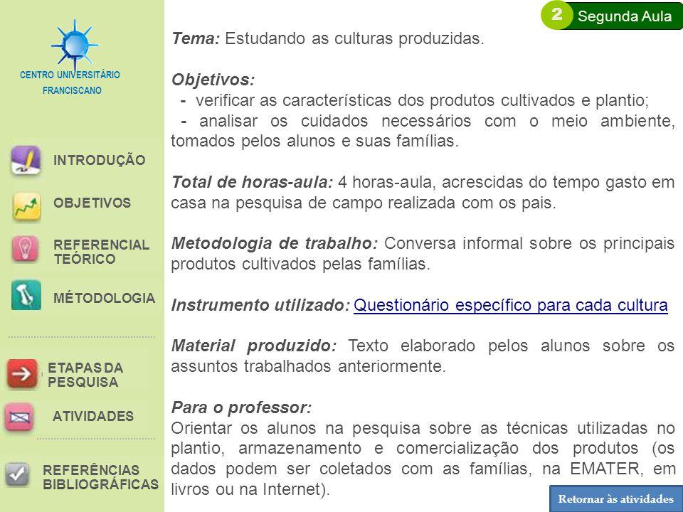 FRANCISCANO CENTRO UNIVERSITÁRIO INTRODUÇÃO REFERENCIAL TEÓRICO MÉTODOLOGIA ETAPAS DA PESQUISA REFERÊNCIAS BIBLIOGRÁFICAS OBJETIVOS ATIVIDADES Tema: Estudando as culturas produzidas.
