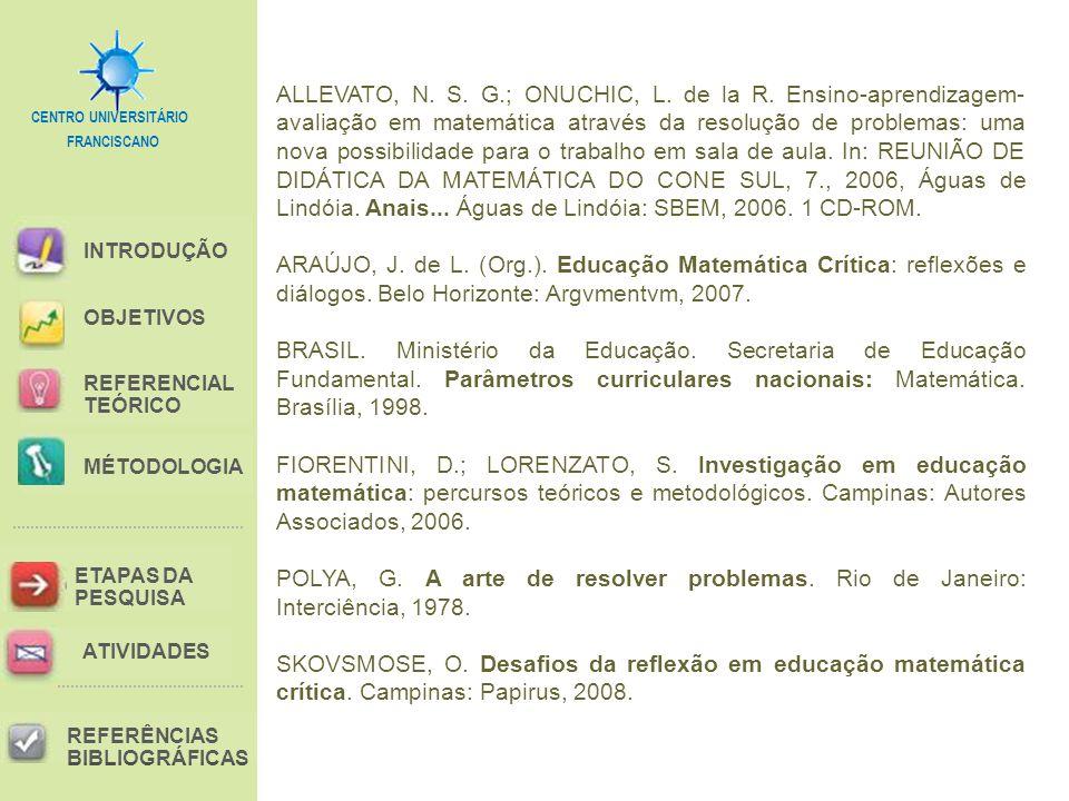 FRANCISCANO CENTRO UNIVERSITÁRIO INTRODUÇÃO REFERENCIAL TEÓRICO MÉTODOLOGIA ETAPAS DA PESQUISA REFERÊNCIAS BIBLIOGRÁFICAS OBJETIVOS ATIVIDADES ALLEVATO, N.
