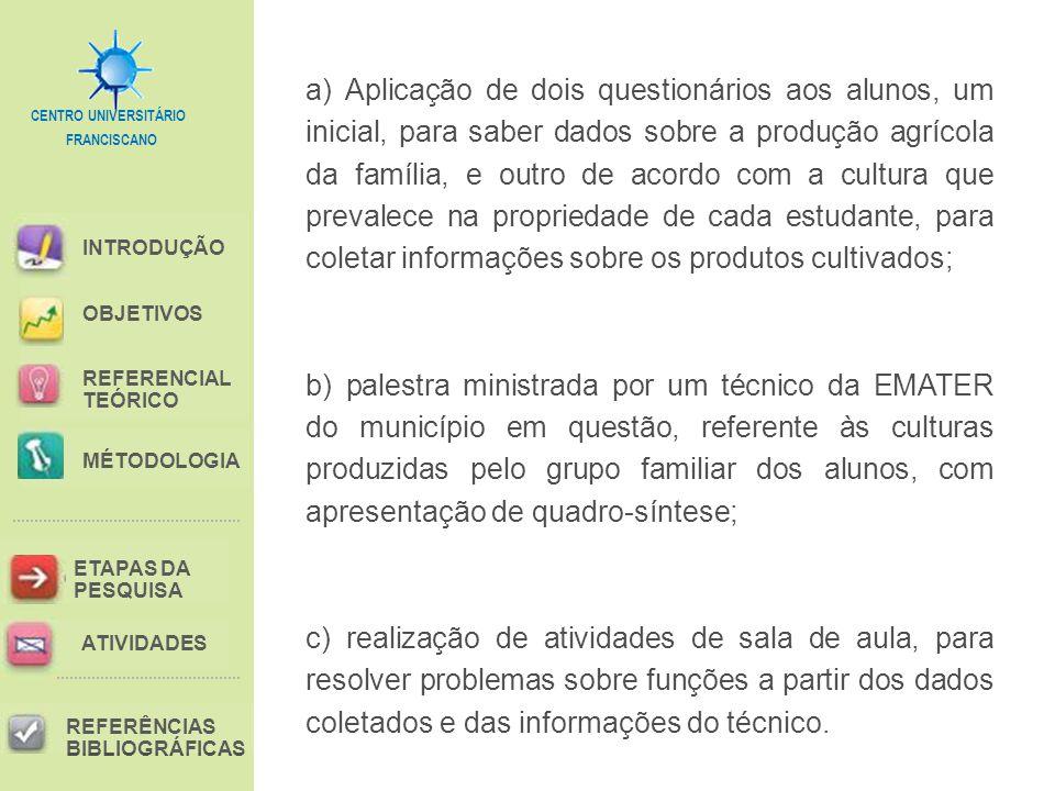 FRANCISCANO CENTRO UNIVERSITÁRIO INTRODUÇÃO REFERENCIAL TEÓRICO MÉTODOLOGIA ETAPAS DA PESQUISA REFERÊNCIAS BIBLIOGRÁFICAS OBJETIVOS ATIVIDADES a) Aplicação de dois questionários aos alunos, um inicial, para saber dados sobre a produção agrícola da família, e outro de acordo com a cultura que prevalece na propriedade de cada estudante, para coletar informações sobre os produtos cultivados; b) palestra ministrada por um técnico da EMATER do município em questão, referente às culturas produzidas pelo grupo familiar dos alunos, com apresentação de quadro-síntese; c) realização de atividades de sala de aula, para resolver problemas sobre funções a partir dos dados coletados e das informações do técnico.