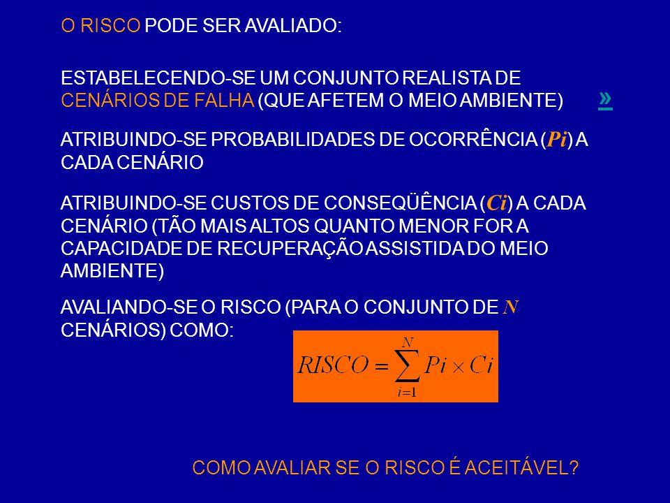 O RISCO PODE SER AVALIADO: ATRIBUINDO-SE PROBABILIDADES DE OCORRÊNCIA ( Pi ) A CADA CENÁRIO ESTABELECENDO-SE UM CONJUNTO REALISTA DE CENÁRIOS DE FALHA