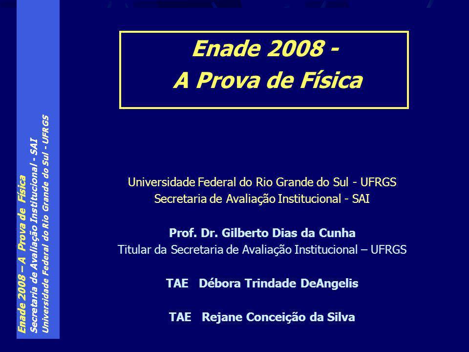 Enade 2008 – A Prova de Física Secretaria de Avaliação Institucional - SAI Universidade Federal do Rio Grande do Sul - UFRGS Secretaria de Avaliação Institucional - SAI Prof.