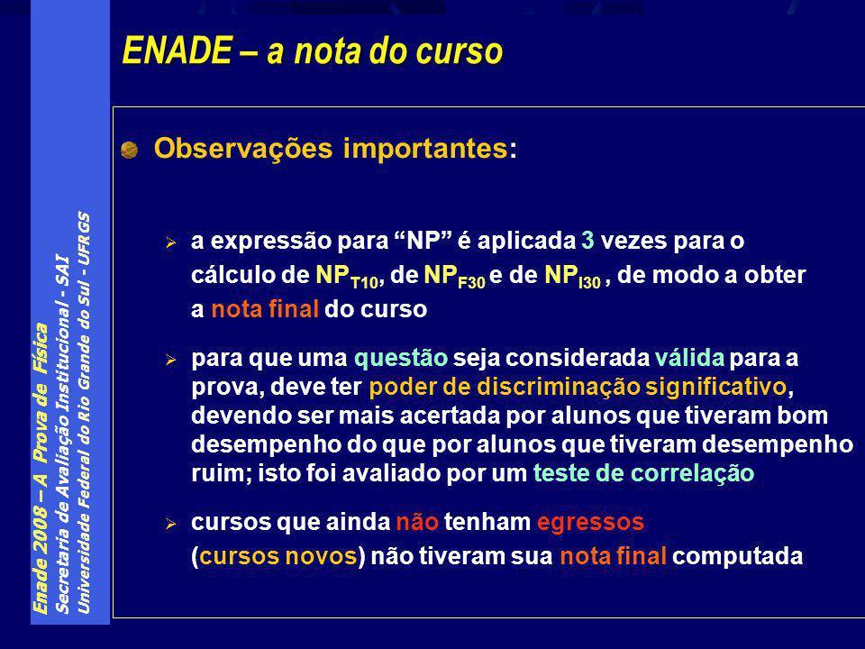 Enade 2008 – A Prova de Física Secretaria de Avaliação Institucional - SAI Universidade Federal do Rio Grande do Sul - UFRGS Observações importantes: