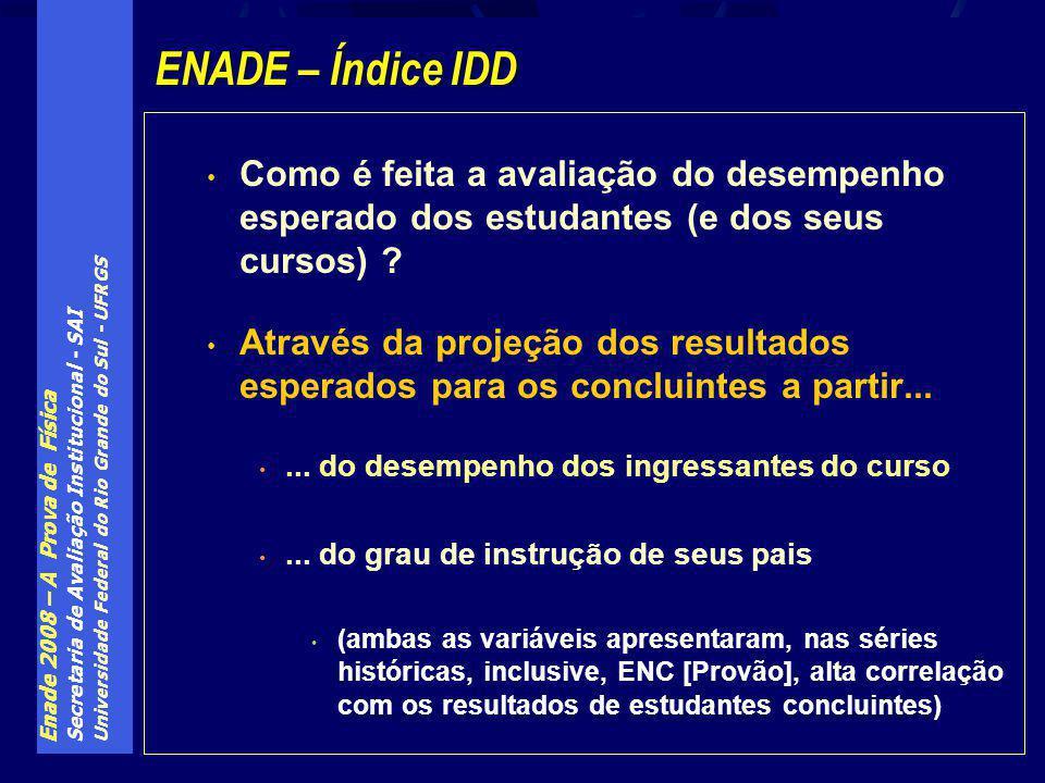 Enade 2008 – A Prova de Física Secretaria de Avaliação Institucional - SAI Universidade Federal do Rio Grande do Sul - UFRGS Como é feita a avaliação do desempenho esperado dos estudantes (e dos seus cursos) .