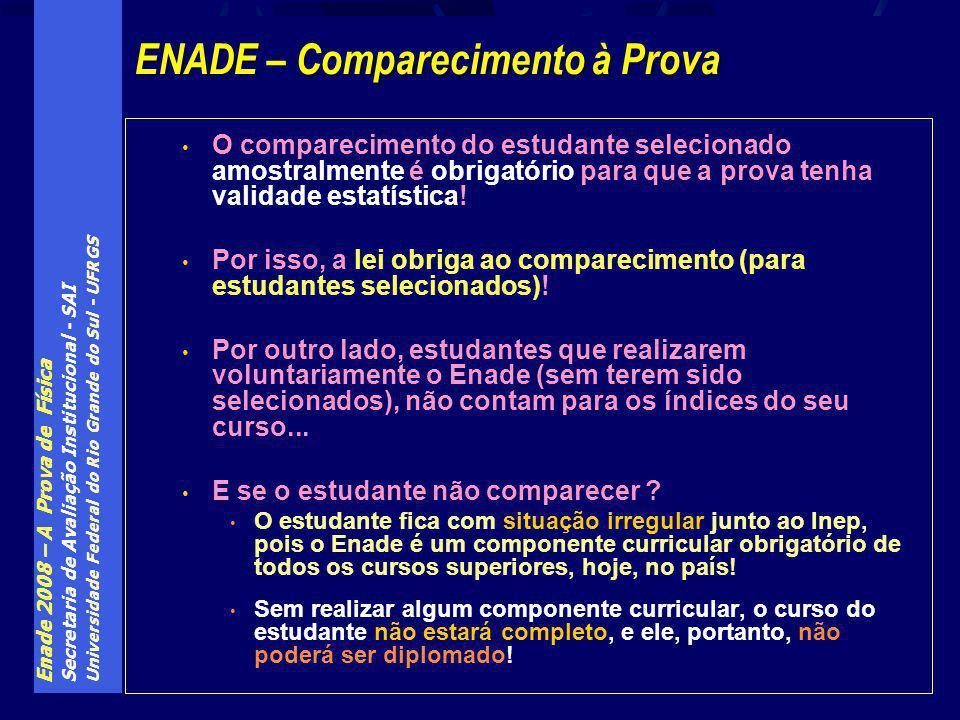 Enade 2008 – A Prova de Física Secretaria de Avaliação Institucional - SAI Universidade Federal do Rio Grande do Sul - UFRGS O comparecimento do estud